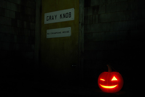 Happy Halloween! Winking Jack sits out and guards the front door here at Gray Knob warding off any evil spirits. Good job Jack.