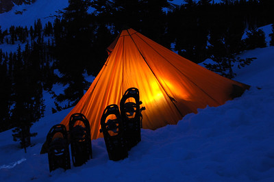 SIERRA MOUNTAINS, CA - Snowshoes patiently waiting until morning.