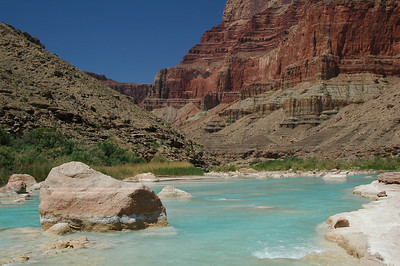 Whitewater rafting down the Colorado River through the Grand Canyon - 225 miles, 18 days, 16 men, 14 swimmers, 8 rafts, 4 flips. Starting at Lees Ferry, AZ to Diamond Creek Take Out, AZ.