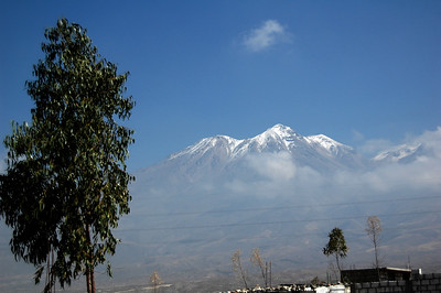 CHACHANI, PERU: The view from Arequipa as we drive up to Chachani for the climb.