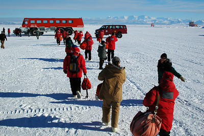 MCMURDO STATION, ANTARCTICA: And here we are! That big red thing is our ride, Ivan the Terrabus, from the the plane which landed on the sea ice just off the coast of Ross Island to McMurdo Station.