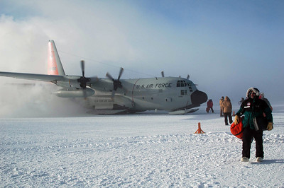SOUTH POLE, ANTARCTICA: The engines keep running to keep everything warm as we're just on the cusp of the hydraulics freezing and preventing the plane from getting back to McMurdo.