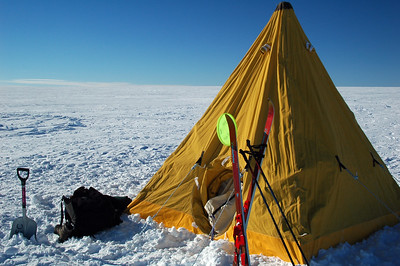 SOUTH POLE, ANTARCTICA: After a satisfying round or two of chasing the Frisbee around on the Antarctic Plateau, it's time to head for bed under the brillant glow of the midnight sun.