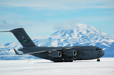 MCMURDO STATION, ANTARCTICA: The massive C-17 rolls along the hard ice airstrip.