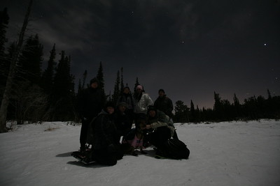 BRAINARD LAKE, CO - Full moon snowshoeing.